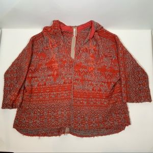 Free People Red + Gray Pullover Size Medium EUC